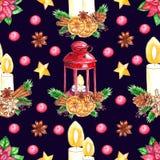 在黑暗的背景隔绝的水彩圣诞节无缝的样式 库存例证
