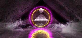 在黑暗空的烟雾圈子激光萤光减速火箭的科学幻想小说未来派霓虹发光的紫色黄色网络光亮充满活力的光 库存例证