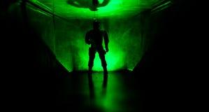 在黑暗被放弃的大厦的蠕动的剪影 关于疯狂概念的恐怖或有橱门的黑暗的走廊和光与 库存图片
