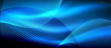 在黑暗,发光的行动,不可思议的空间光的发光的蓝色抽象波浪 Techno摘要背景 向量例证