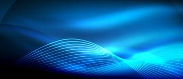 在黑暗,发光的行动,不可思议的空间光的发光的蓝色抽象波浪 Techno摘要背景 库存例证