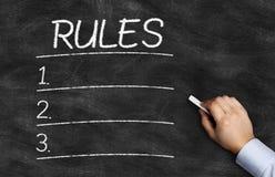 在黑板写的规则名单 免版税库存照片