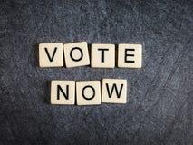 在黑板岩背景拼写的瓦片上写字现在投票 库存图片