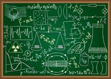 在黑板的实际乱画和等式 库存例证