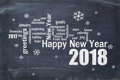 在黑板的新年快乐2018年 免版税库存照片