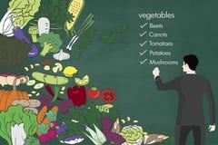 在黑板的新鲜蔬菜传染媒介手拉的剪影 向量例证