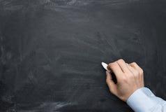 在黑板的男性现有量文字 免版税库存图片