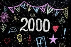 2 000在黑板的粉笔画 免版税图库摄影
