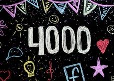 4 000在黑板的粉笔画 库存照片