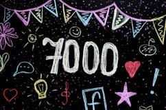7 000在黑板的粉笔画 免版税图库摄影