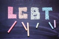 在黑板的词LGBT 库存照片