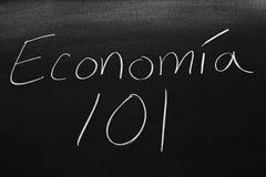 在黑板的EconomÃa 101 免版税库存图片