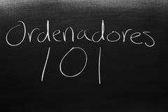 在黑板的Ordenadores 101 库存照片