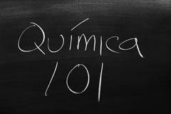 在黑板的QuÃmica 101 免版税库存图片