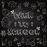 在黑板背景的滑稽的学校乱画 回到学校向量例证 库存例证