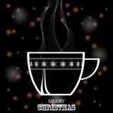 在黑欢乐backgroun的圣诞节咖啡杯白色剪影 库存照片