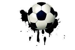 在黑水彩污点的橄榄球球与油漆飞溅和刷子冲程 免版税库存照片