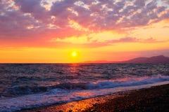 在黑海上的美好的日落 库存图片