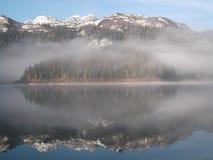 在黑湖的清早薄雾 免版税库存图片
