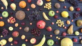 在黑生态背景的果子 顶视图 股票录像