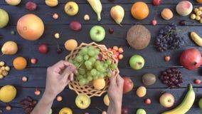 在黑生态背景的果子 顶视图 股票视频