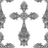 在黑白无缝的样式,纹章学设计的葡萄酒宗教十字架 免版税库存照片