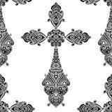 在黑白无缝的样式,纹章学设计的葡萄酒宗教十字架 免版税库存图片