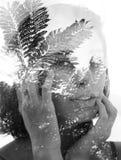 在黑白的两次曝光画象一个自然地好漂亮的东西或人 库存照片