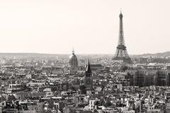 在黑白的埃佛尔铁塔,巴黎 免版税库存图片
