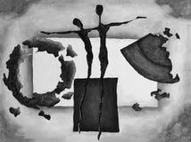 在黑白的帆布的抽象绘的艺术品 免版税库存照片