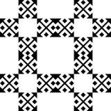 在黑白的无缝的样式背景 葡萄酒和减速火箭的抽象装饰设计 简单的舱内甲板 图库摄影
