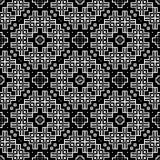 在黑白的无缝的样式背景 葡萄酒和减速火箭的抽象装饰设计 简单的舱内甲板 免版税库存照片