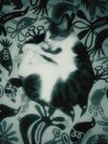 在黑白的毯子的睡觉猫 免版税库存图片