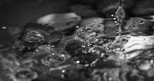 在黑白的泡影,倾吐在湖的水 图库摄影