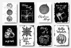 在黑白的现代和经典创造性的圣诞卡片 库存照片