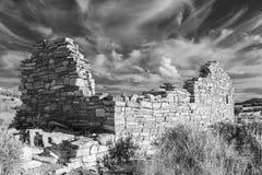 在黑白的箱形峡谷废墟 免版税图库摄影