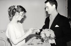 在黑白的结婚登记 免版税图库摄影