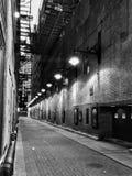 在黑白的芝加哥胡同 免版税图库摄影