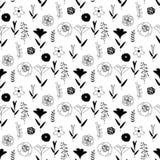 在黑白的花卉样式 向量例证