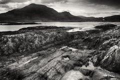 在黑白的Glassilaun海滩Connemara 免版税库存照片
