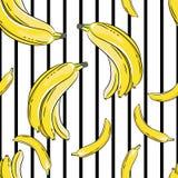 在黑白背景的香蕉 无缝的模式 库存照片