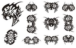 在黑白选择的被锐化的部族老鹰标志 免版税图库摄影