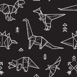 在黑白颜色的Origami恐龙无缝的样式 手拉的向量例证 库存图片