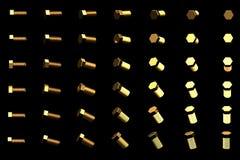 在黑的美好的工业3D例证转动了隔绝的许多黄色,金黄螺丝螺栓由不同的角度,图象为 皇族释放例证