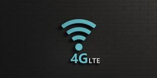 在黑砖墙的WiFi 4G标志 截去容易的编辑文件例证的3d包括了路径翻译 免版税库存照片