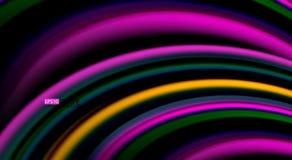 在黑背景、传染媒介波浪线和漩涡的可变的彩虹颜色 库存例证