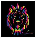 在黑背景传染媒介的霓虹狮子画象 库存图片