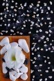 在黑背景是疏散小卵石和一个木板用不同的小卵石温泉做法的 免版税库存图片