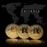 在黑背景的一枚bitcoin硬币 库存照片
