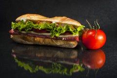 在黑背景的三明治 库存照片